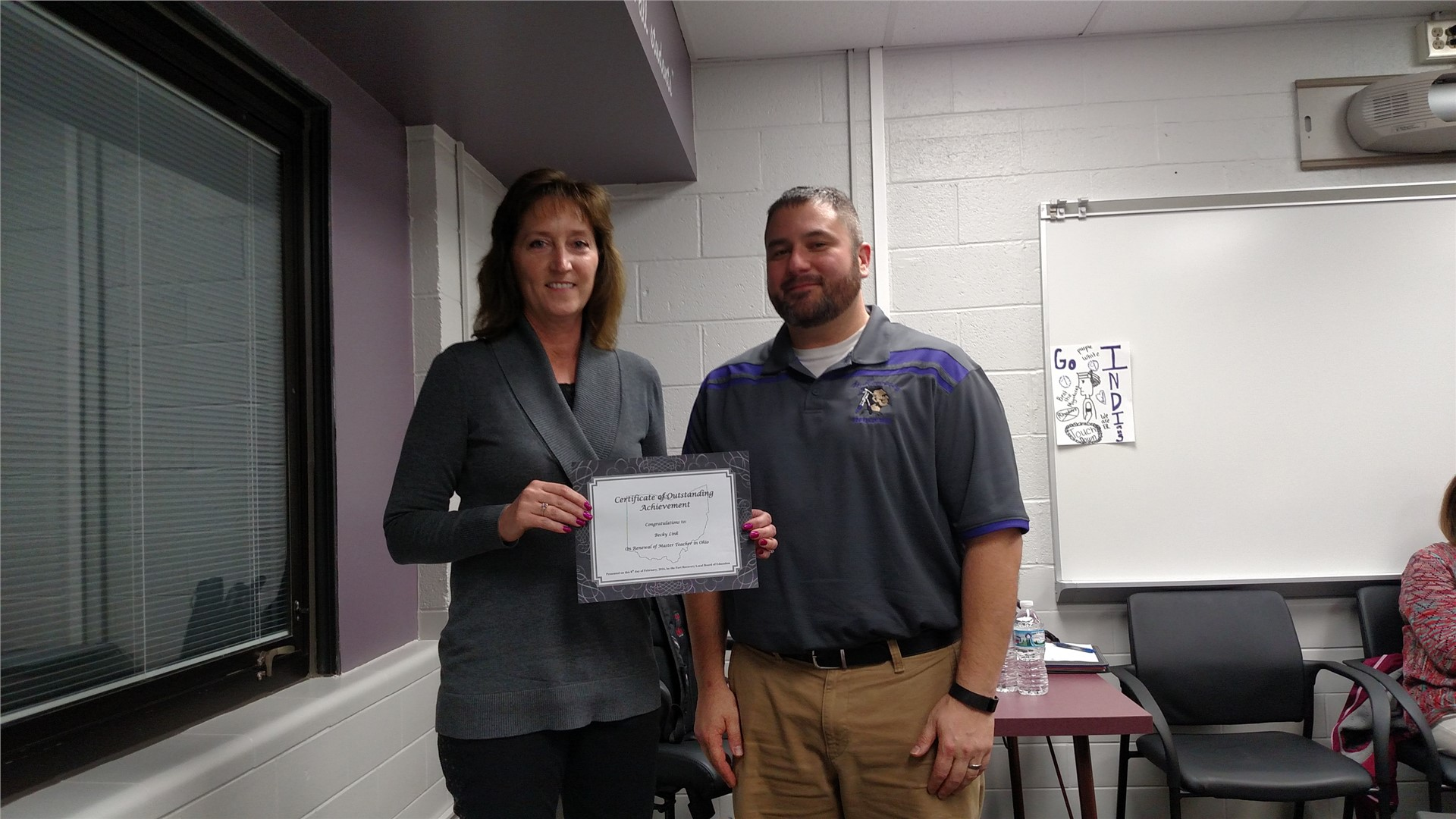 Mrs. Rebecca Link was recognized for earning the designation of Master Teacher in the State of Ohio