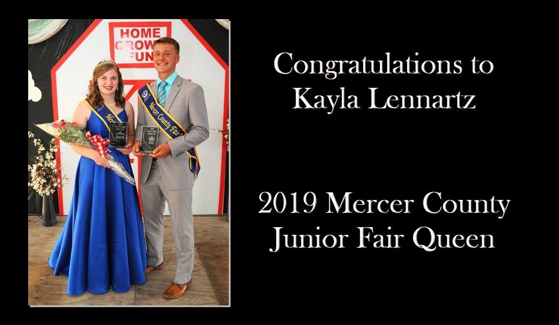 2019 Mercer County Junior Fair Queen - Kayla Lennartz